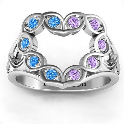 Floating Heart Infinity Solid White Gold Ring