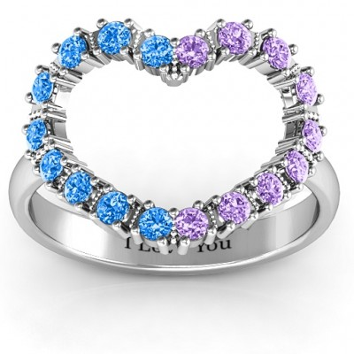 Floating Heart with Stones Solid White Gold Ring