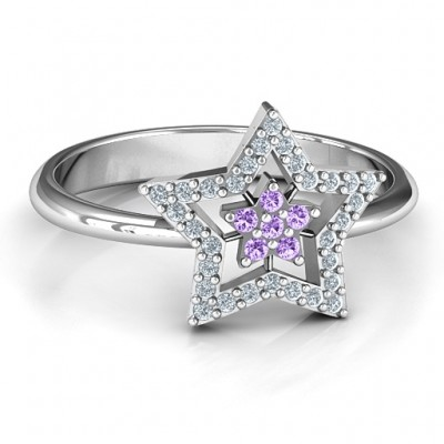 Floating Star with Halo Solid White Gold Ring