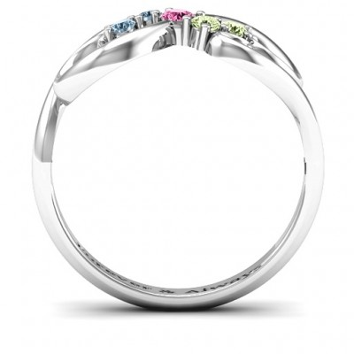 Flourish Infinity Solid White Gold Ring with Gemstones