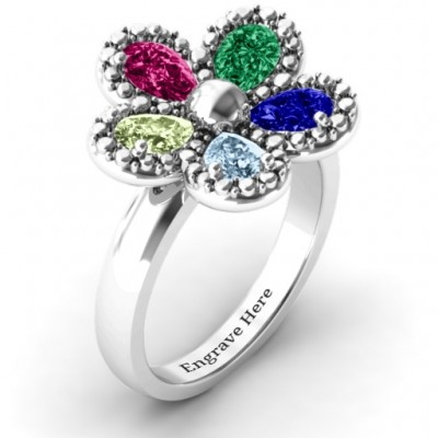 Flower Solid White Gold Ring
