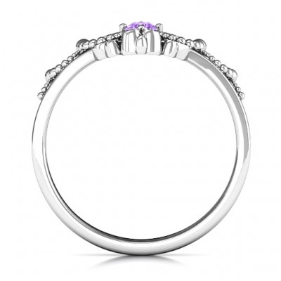 Forever And Always Tiara Solid White Gold Ring