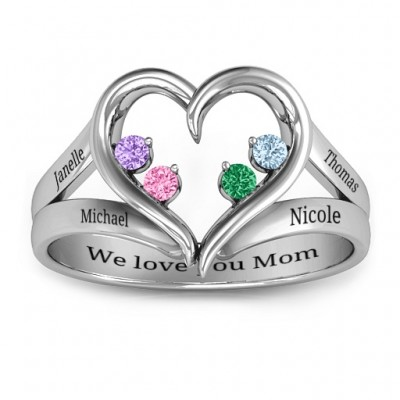 Forever In My Heart Birthstone Solid White Gold Ring