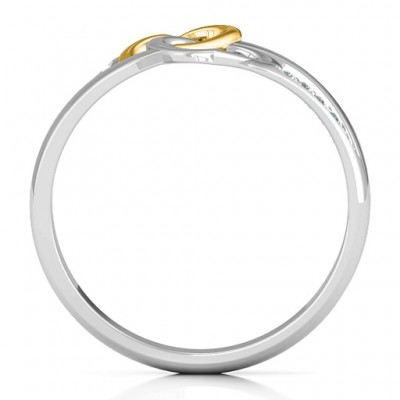 Forever Linked Hearts Solid Gold Ring