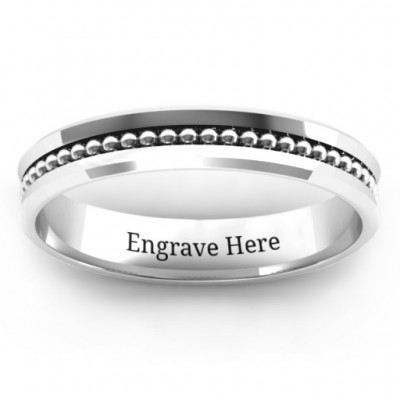 Forge Beaded Groove Bevelled Women's Solid White Gold Ring
