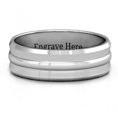 Forge Bevelled and Banded Men's Solid White Gold Ring