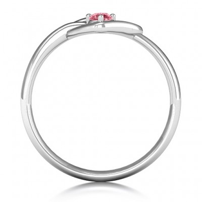 Forget Me Knot Heart Infinity Solid White Gold Ring