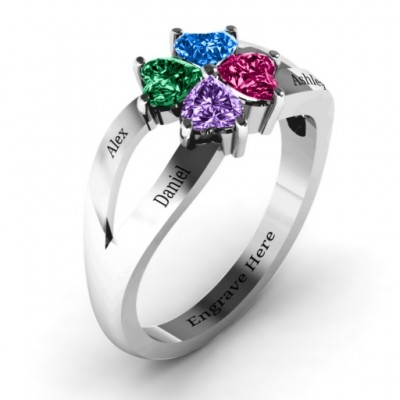 Four Clover Hearts Solid White Gold Ring