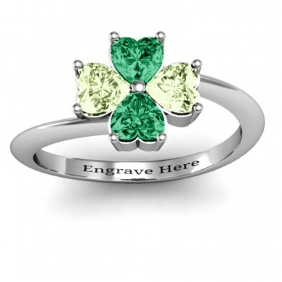 Four Heart Clover Solid White Gold Ring