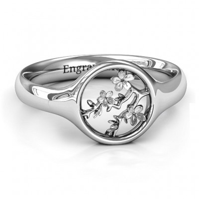 Full Circle Cherry Blossom Solid White Gold Ring