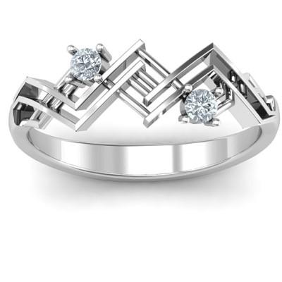 Geometric Glamor Solid White Gold Ring