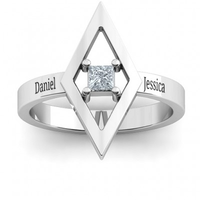 Glam Diamond Solid White Gold Ring