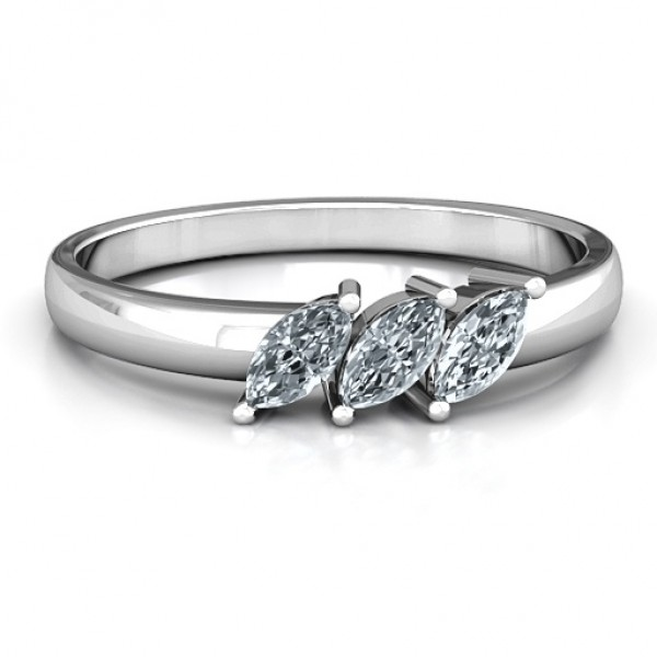 Grand Marquise Trio Solid White Gold Ring