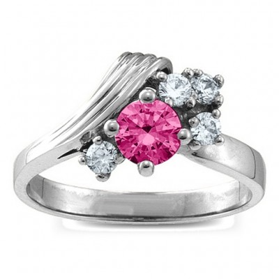Grooved Wave 2-9 Gemstones Solid White Gold Ring