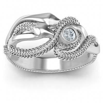 Guardian Snake Solid White Gold Ring