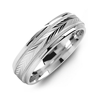 Harvest of Love Milgrain Men's Solid White Gold Ring