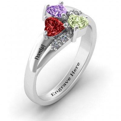 Heart Cluster Solid White Gold Ring with Accents