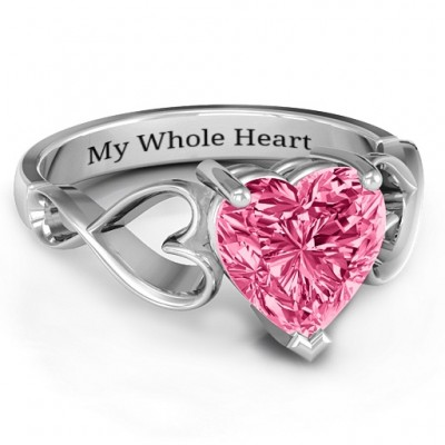 Heart Shaped Stone with Interwoven Heart Infinity Band Solid White Gold Ring