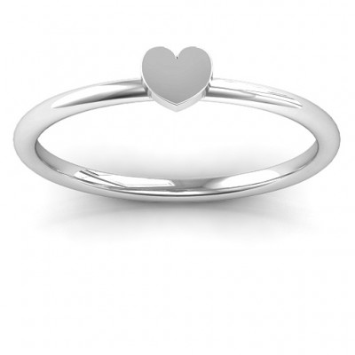 Heart Stackr Solid White Gold Ring