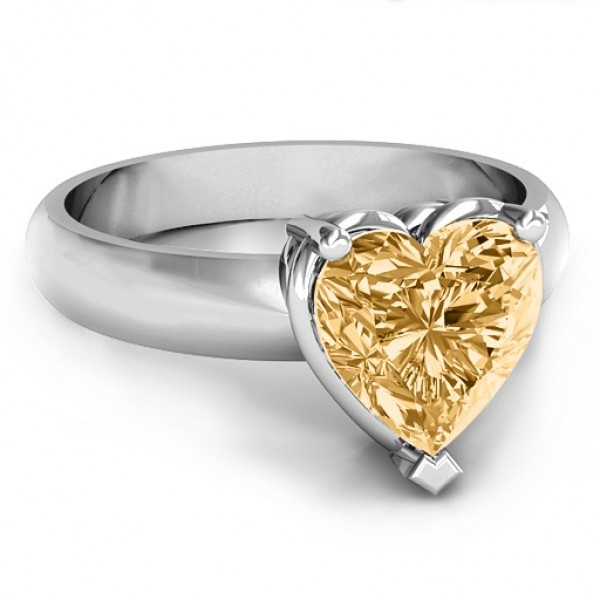 Heart Stone in a Double Gallery Setting Solid White Gold Ring