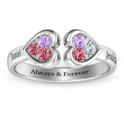 Heart To Heart Wraparound Solid White Gold Ring