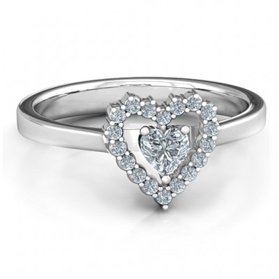 Heart in Heart Halo Solid White Gold Ring