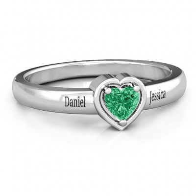 Heart in a Heart Solid White Gold Ring