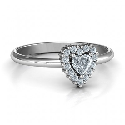 Heart with Halo Promise Solid White Gold Ring