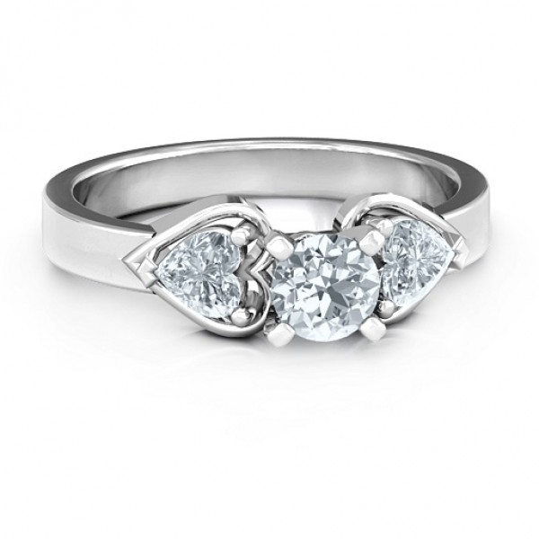 Hearts and Stones Solitaire Solid White Gold Ring