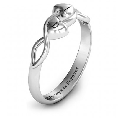 Heavenly Hearts Solid White Gold Ring