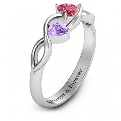 Heavenly Hearts Solid White Gold Ring with Heart Gemstones