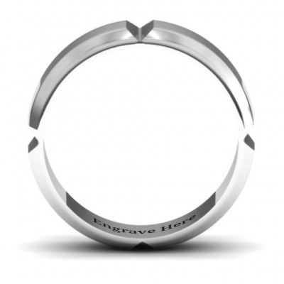 Hercules Quad Bevelled and Grooved Men's Solid White Gold Ring
