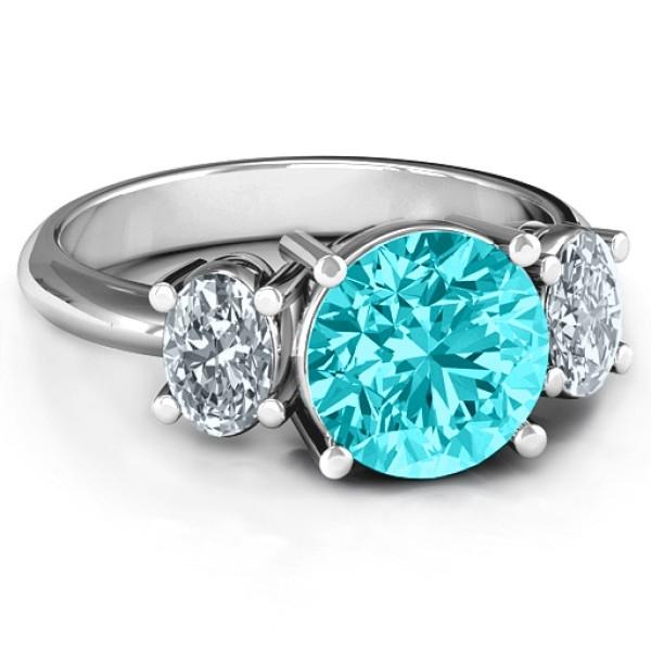 Impressive Three Stone Eternity Solid White Gold Ring