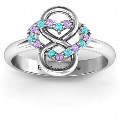 Infinite Love with Stones Solid White Gold Rings