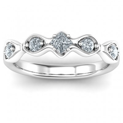 Infinite Wave with Princess Cut Centre Stone Solid White Gold Ring