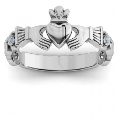 Infinity Claddagh With Side Stones Solid White Gold Ring