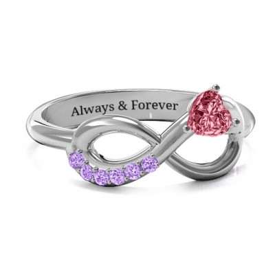 Infinity In Love Solid White Gold Ring with Accents