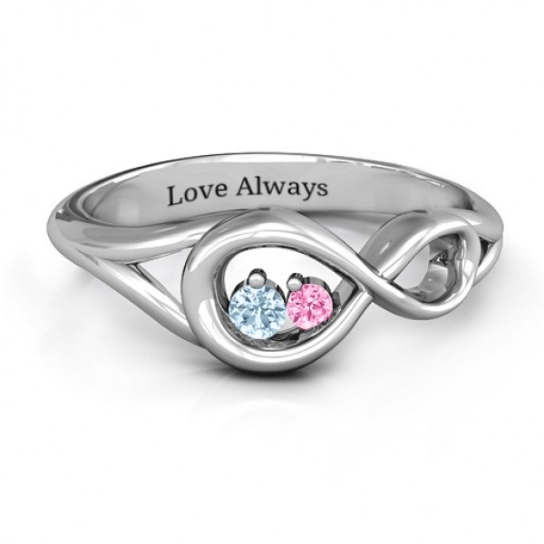 Infinity Love Nest Solid White Gold Ring