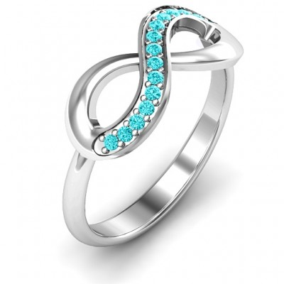 Infinity Solid White Gold Ring with Single Accent Row