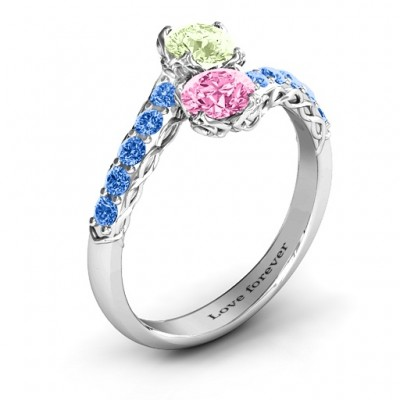 Intricate Infinity Two Stone Solid White Gold Ring
