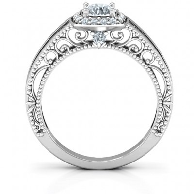 Intricate Love Solid White Gold Ring