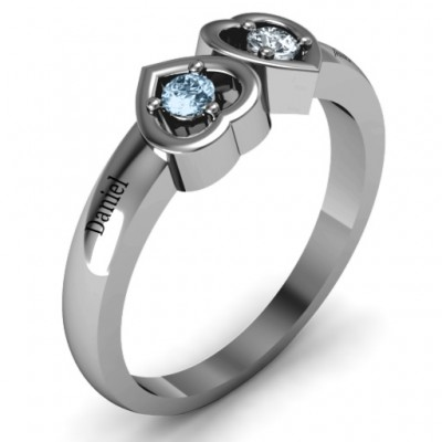 Inverted Kissing Hearts Solid White Gold Ring