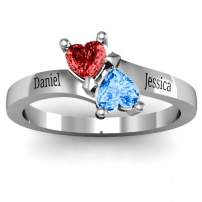 Inverted Twin Heart Solid White Gold Ring