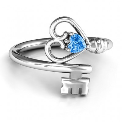 Key to Her Heart Solid White Gold Ring