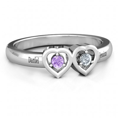 Kissing Hearts Solid White Gold Ring