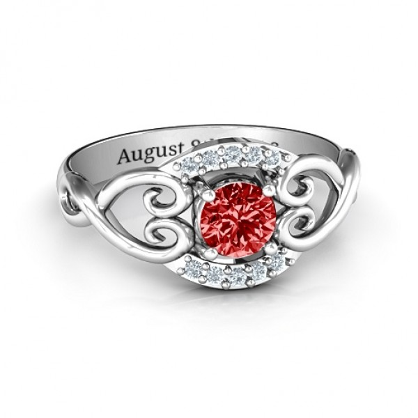 Lasting Love Promise Solid White Gold Ring with Accents
