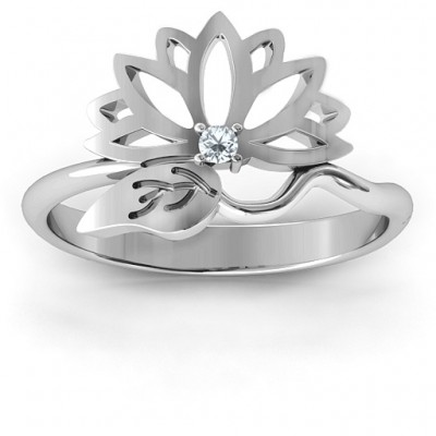 Leaves and Lotus Wrap Solid White Gold Ring