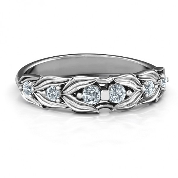 Leaves of Love 6 Stone Solid White Gold Ring