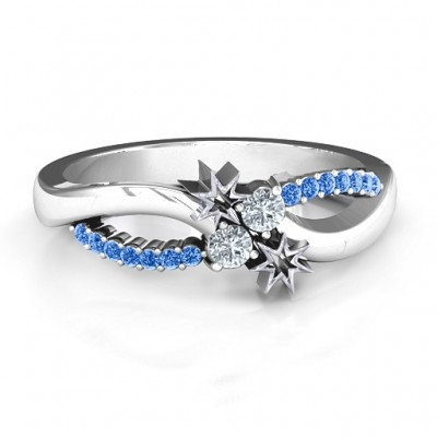Light Up My Life Infinity Solid White Gold Ring with Accent Stones