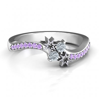 Light Up My Life Solid White Gold Ring with Accent Stones